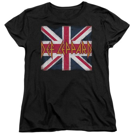 Def Leppard/Union Jack S/S Women's Tee Black Dlep106](Jack Sparrow Shirt)