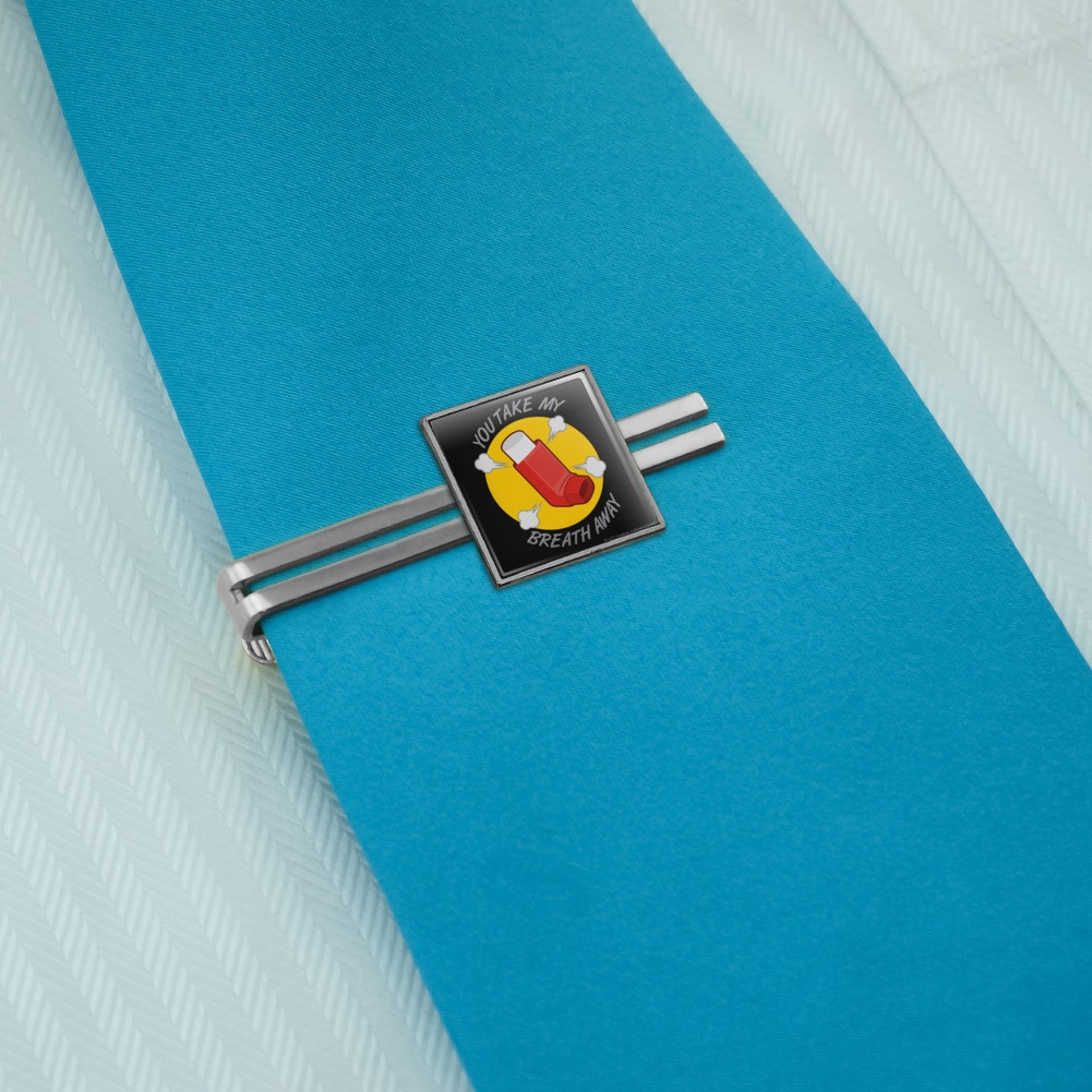 GRAPHICS /& MORE You Take My Breath Away Asthma Inhaler Funny Humor Square Tie Bar Clip Clasp Tack Silver or Gold