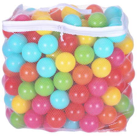 BalanceFrom Phthalate Free BPA Free Non-Toxic Crush Proof Play balls Pit Balls- 6 Bright Colors in Reusable and Durable Storage Mesh Bag with Zipper