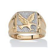 Men's Round Two-Tone Diamond Accent 18k Gold over Sterling Silver Eagle Ring