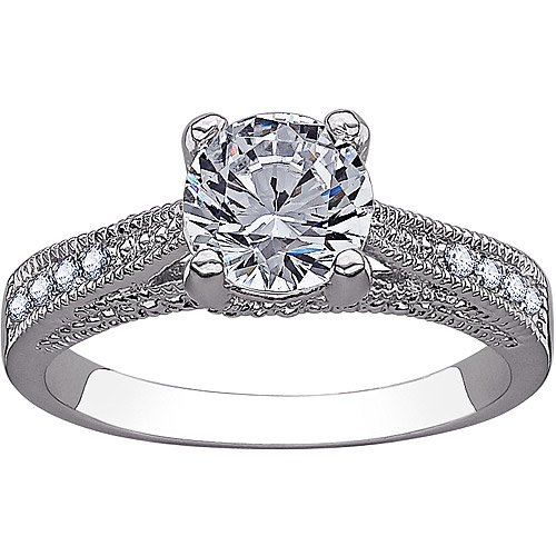 2.27 Carat T.G.W. CZ Silver-Tone Solitaire Wedding Ring