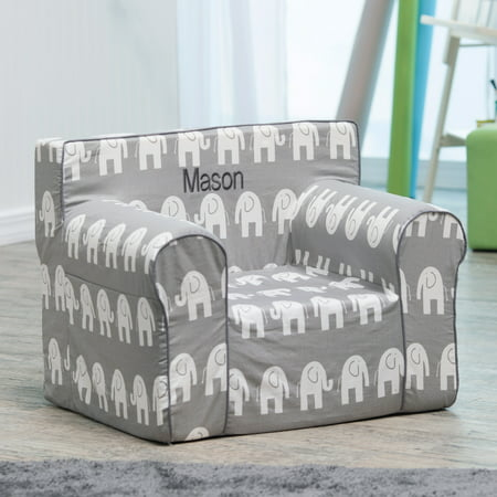 Stupendous Here And There Personalized Kids Chair Gray Elephant Creativecarmelina Interior Chair Design Creativecarmelinacom