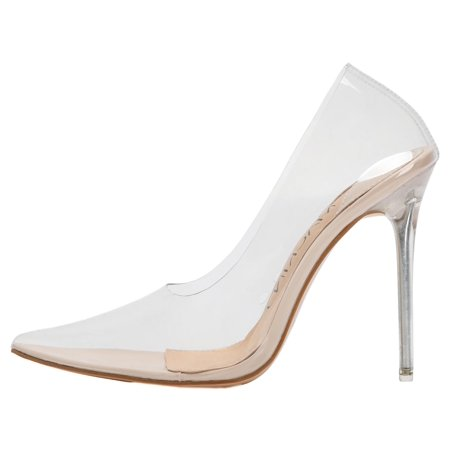 188-8 Pointed Toe Transparent Clear Slip On Stiletto Lucite High Heel Pumps Shoes Nude](High Heel Shoes Kids)
