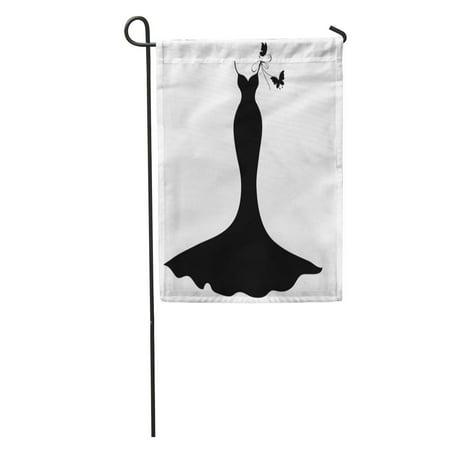 KDAGR Silhouette Wedding Dress Couture Designer Model Vintage Butterfly Garden Flag Decorative Flag House Banner 12x18