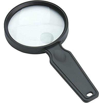 carson magniview 2x lightweight hand-held magnifier with 4.5x spot lens for reading, hobby, crafts, inspection and tasks (ds-36)