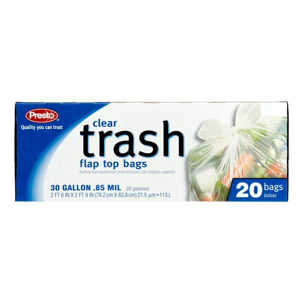 Presto Clear Large Trash Bags, 30 Gallon, 20 Count