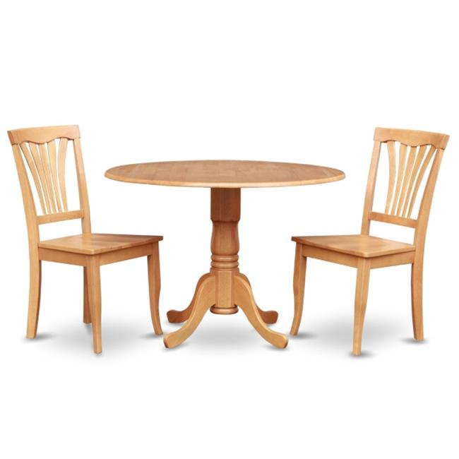 East West Furniture DLAV3-OAK-W 3PC Kitchen Round Table with 2 Drop Leaves and 2 Chairs with Wood Seat