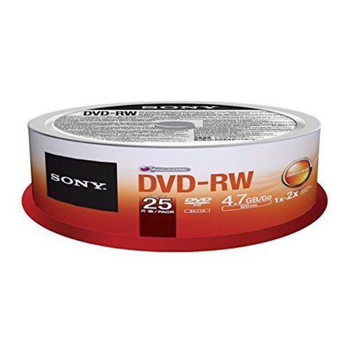 Sony 25DMW47SP - 25 x DVD-RW - 4.7 GB ( 120min ) 1x - 2x - spindle