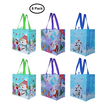 Earthwise Reusable Grocery Gift Bags with Xmas Designs Totes (Pack of 6) ()