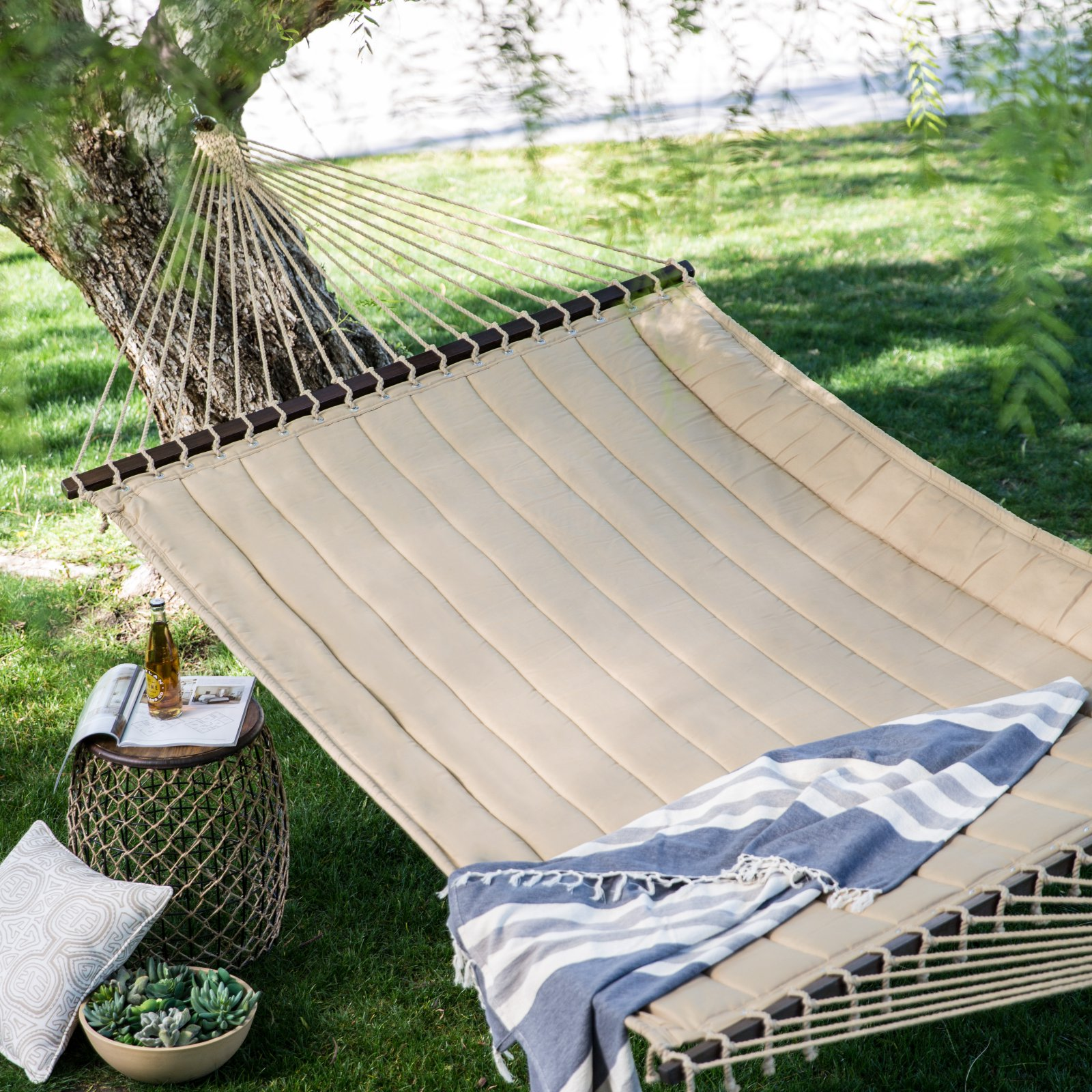 Coral Coast 13 ft. Taupe Quilted Double Hammock