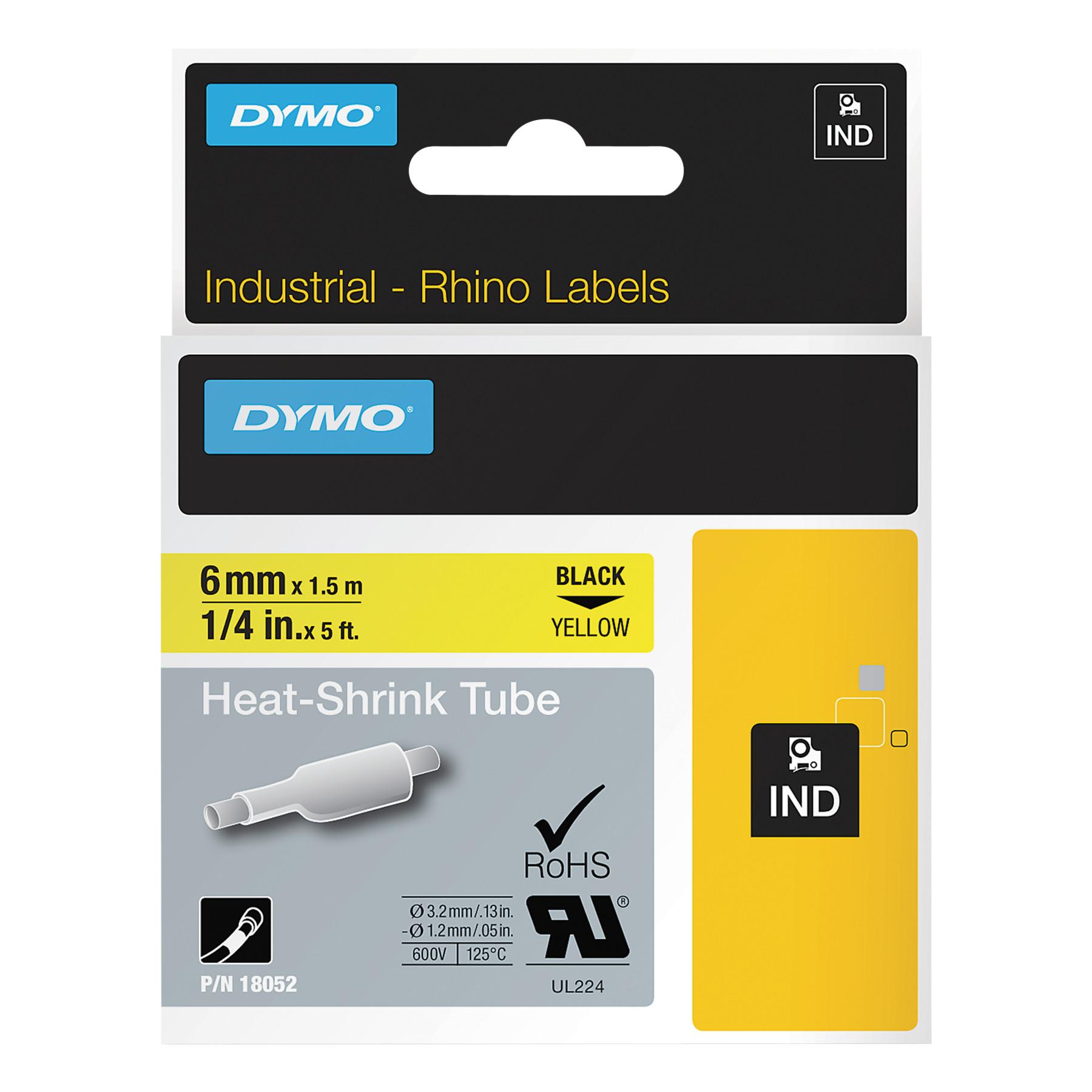 "DYMO Rhino Heat Shrink Tubes Industrial Label Tape, 1 4"" x 5 ft, Yellow Black Print by DYMO"