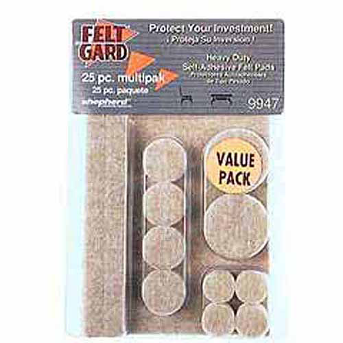 Shepherd 9947 25-Count Assorted Sizes Beige Heavy Duty Felt Pads