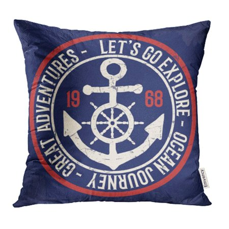 ARHOME Navy Badge Vintage Anchor Tees Boat Marine Sail Sailor Seafarer Graphic Pillowcase Cushion Cases 18x18 -