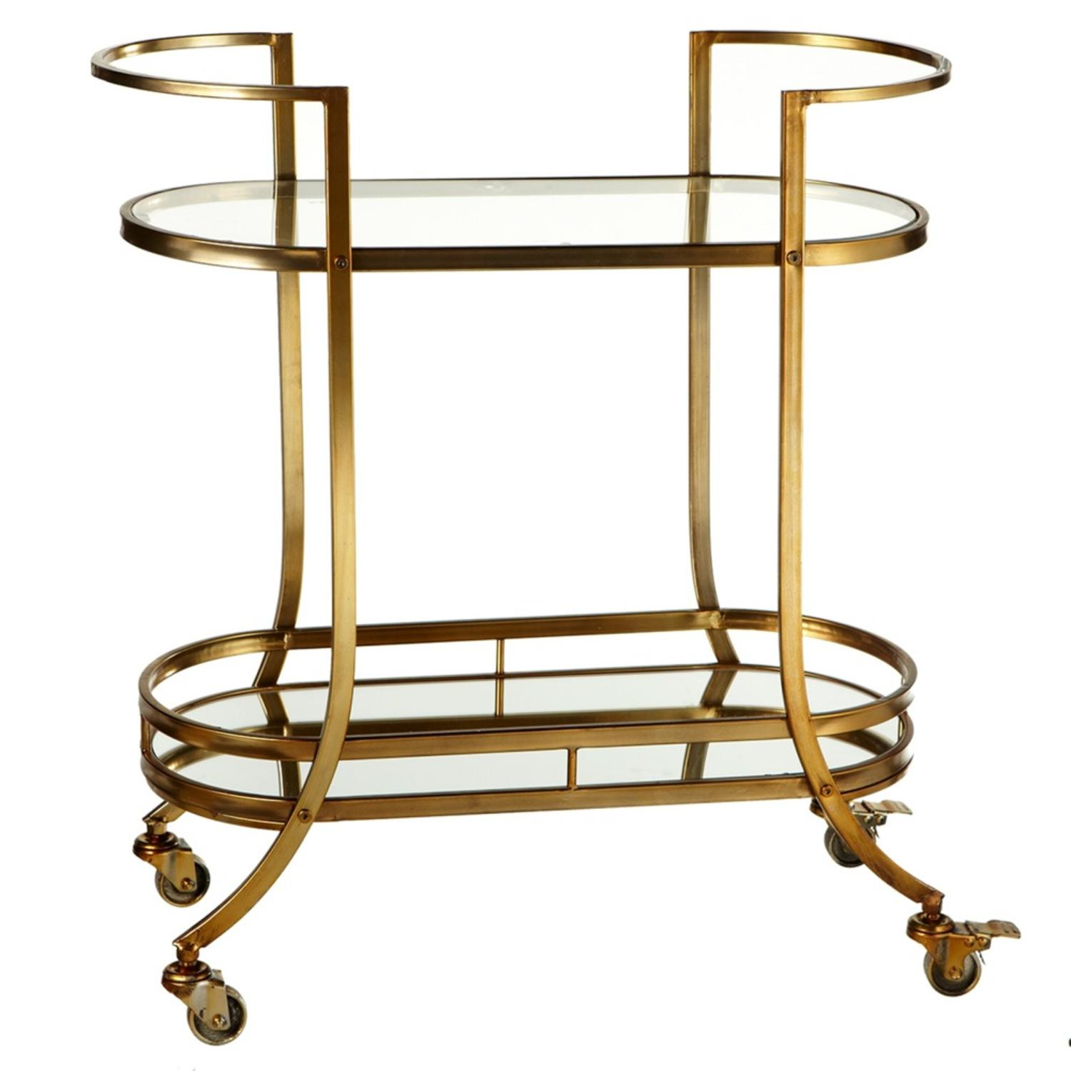 """32"""" Antiqued Gold Iron Two-Tiered Bar Cart with Mirror and Glass on Wheels"""