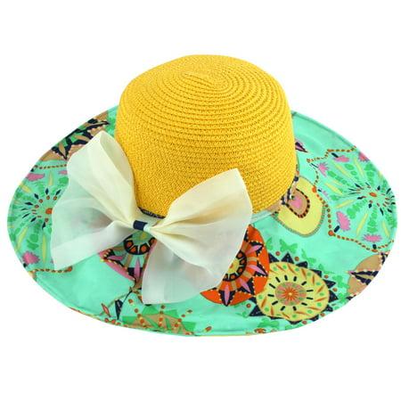 Lady Foldable Straw Braided Bowknot Decor Beach Sun Bucket Hat Sunhat Yellow