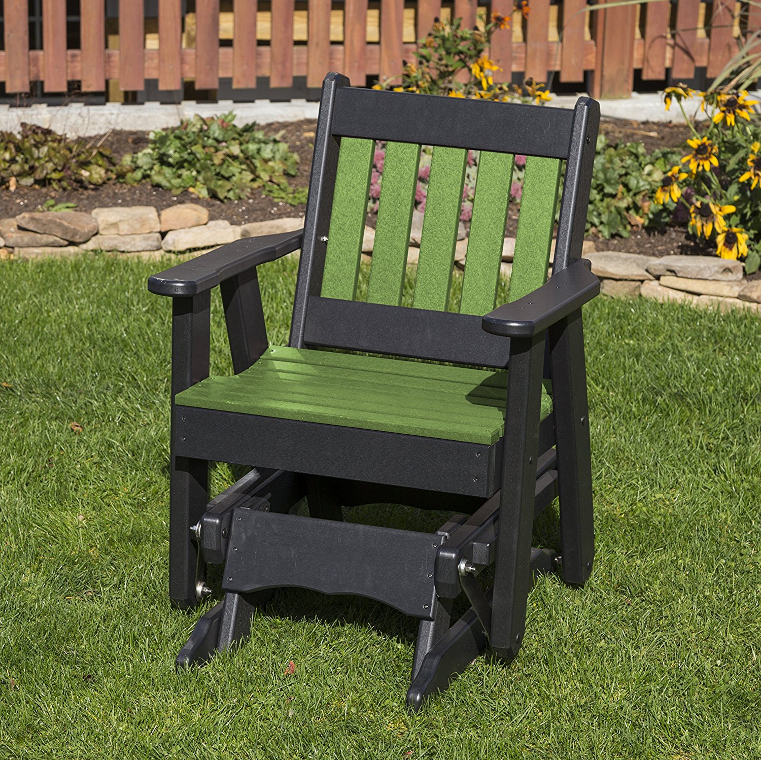 Outdoor Patio Garden Lawn Exterior Tropical Lime Green Finish Poly Lumber Mission 2 Ft Glider Everlasting - Amish Crafted