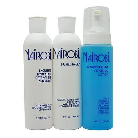 Nairobi Exquisite Hydrating Detangling Shampoo + Humecta-Sil + Wrap-it Shine Set Hydrating Detangling Shampoo