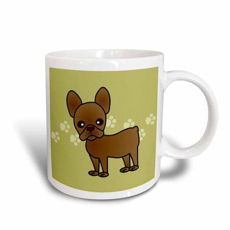 Dark Brown Ceramic (3dRose Cute Chocolate Brown French Bulldog Green with Pawprints, Ceramic Mug,)