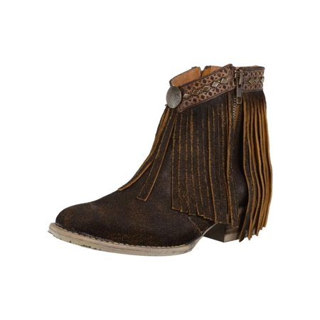 Leather Side Zip Fashion Boots (Corral Fashion Boots Womens Ankle Fringe Side Zip Brown Q5010)