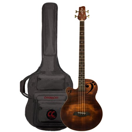 Sawtooth Rudy Sarzo Signature Left-Handed Acoustic-Electric Bass Guitar, Includes Padded Gig Bag