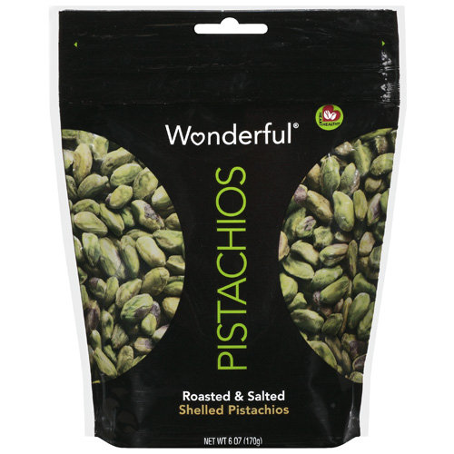 Wonderful: Shelled Roasted & Salted Pistachios, 6 Oz
