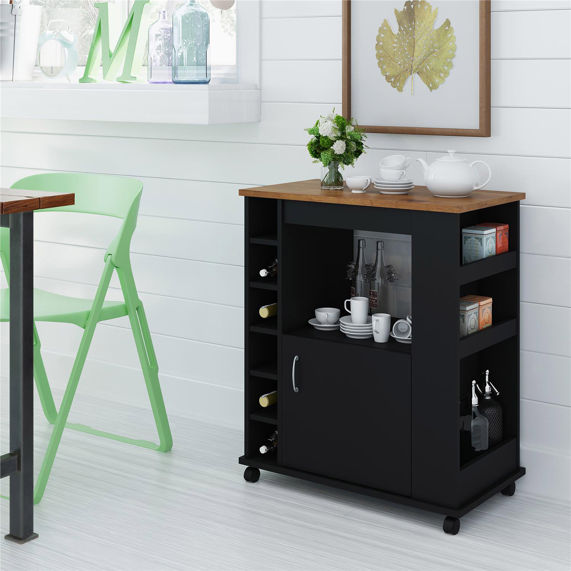 Kitchen Beverage Cart, Black and Pine