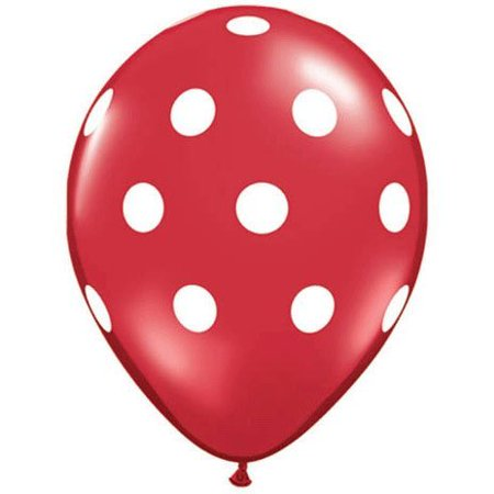Red Polka Dot Balloons (10 Pack) - 12 Inch Inflatable Latex Balloons, Red Birthday or Christmas Party Decorations, Polka Dot Red Holiday Wedding Supplies, Latex By Parties Weddings - Holiday Supplies