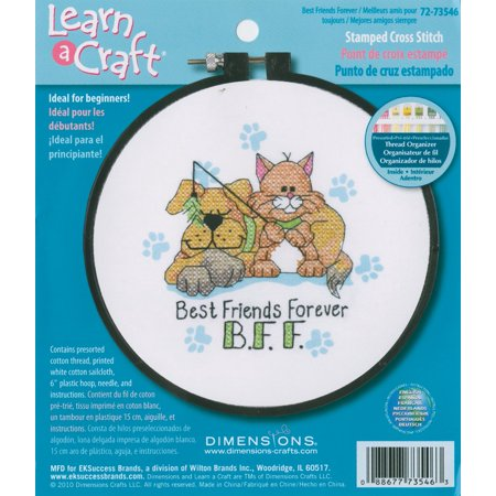 ''Best Friends Forever'' Stamped Cross Stitch Kit for Beginners, 6'' D, 72-73546 By