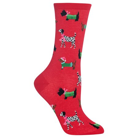 Hot Sox Womens Christmas Dogs Crew Socks Style-HOH00019 ()