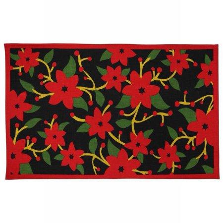 Martha Stewart Living Painted Poinsettia Accent Rug Non Skid Holiday Mat 18x30](Martha Stewart Living Halloween)
