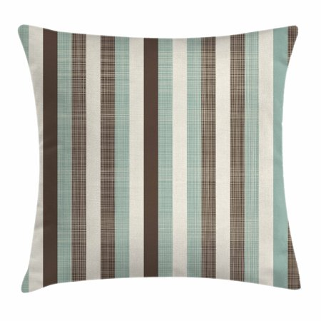 Retro Throw Pillow Cushion Cover, Classical Vertical Stripes Fabric Texture Image Old Fashioned Display, Decorative Square Accent Pillow Case, 18 X 18 Inches, Brown Almond Green Cream, by Ambesonne