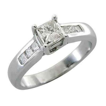 14k White Gold 1 Carat Princess Cut (Square) Diamond Engagement Ring