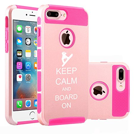 Snowboard Hard Case (For Apple (iPhone 8 Plus) Shockproof Impact Hard Soft Case Cover Keep Calm And Board On Snowboard (Rose Gold-Hot Pink))