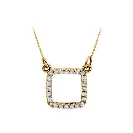 Beautiful Cubic Zirconia Square Pendant in 18K Yellow Gold Vermeil Attractive Looks Decent Price - image 2 of 2
