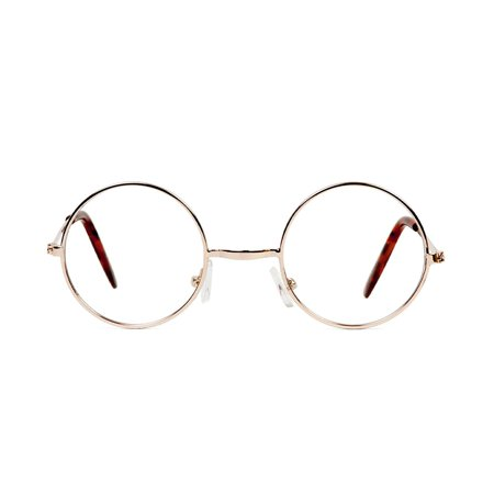Circular Gold Frame Clear Lens Glasses with Free Microfiber Case, plastic frame By Gravity (Gold Frame Shades)