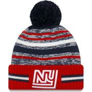 New York Giants New Era Youth 2021 NFL Sideline Sport Historic Pom Cuffed Knit Hat - Royal - OSFA
