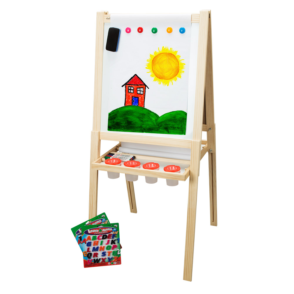 First Impressions Solid Wood Art Easel For Kids (2nd Edition) Dry Erase Board and Magnetic Chalk Board Includes Numbers, Letters, Markers, Chalk & Eraser Accessory Pack