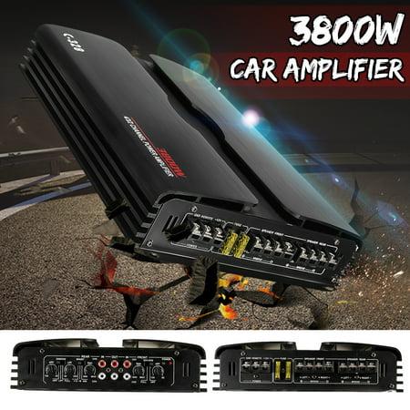 3800W High-Power 4 Channel 12V Amplifier Subwoofer Truck Car Stereo Audio Stereo Speaker Amp 360° Round Sound Aluminum Alloy
