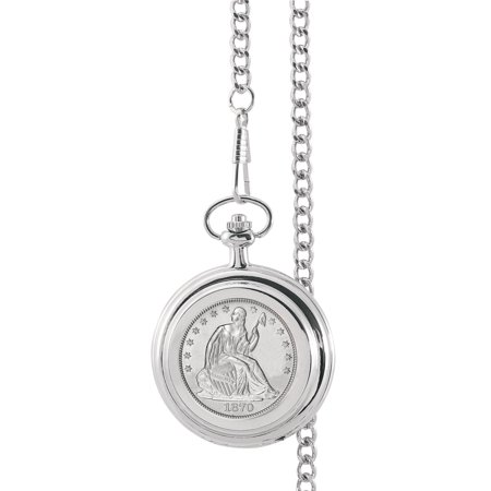 Silver Seated Liberty Half Dollar Coin Pocket Watch ()