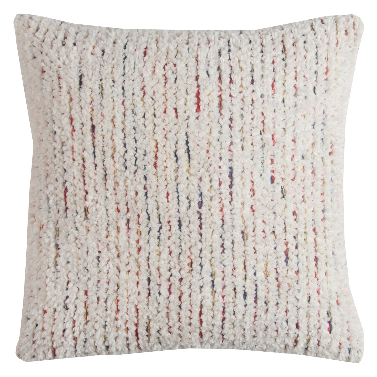"""Rizzy Home Decorative Poly Filled Throw Pillow Textured Stripes 20""""X20"""" Cream"""