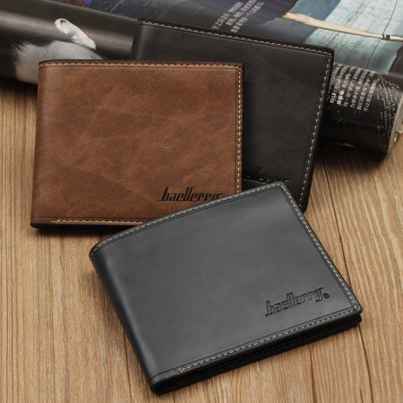Men's Leather Wallet ID Business Credit Card Holder Purse Clutch Pockets (Business Card Wallet Leather)