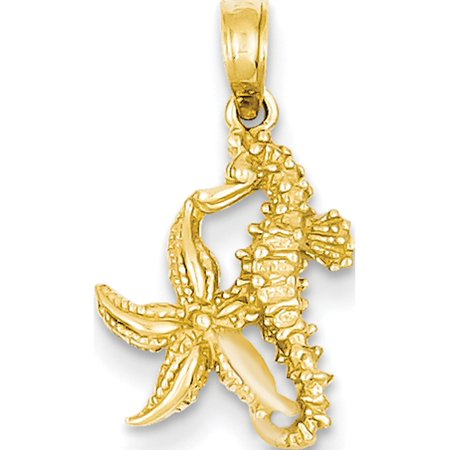 Leslies Fine Jewelry Designer 14k Yellow Gold Solid Seahorse & Starfish (11x19mm) Pendant Gift