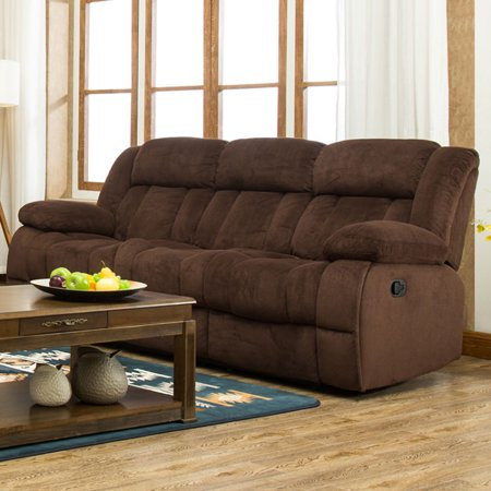 Traditonal Brown Fabric Recliner Sofa (Microfiber Reclining Couch)
