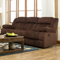 Traditonal Brown Fabric Recliner Sofa