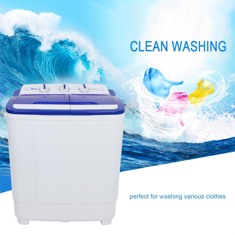 Ktaxon Portable Compact Mini Twin Tub 16.6Lbs Washing Machine Washer Spin Dryer,Wash 10LBS+Spin 6.6LBS Capacity