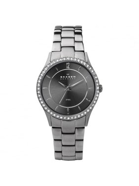 Skagen Women's 347SMXM Charcoal Grey Steel Link 30mm Swarovski Crystals Watch