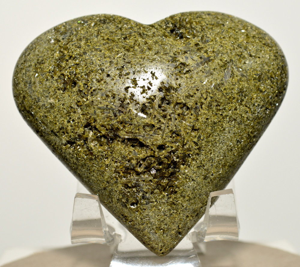 """2.7"""" Epidote Puffy Heart Natural Rare Druzy Crystal Green Stone Mineral Peru + Acrylic Display Stand by"""