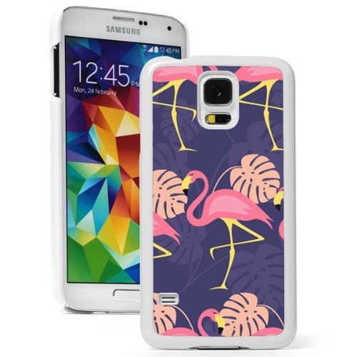 Samsung Galaxy (S5 Active) Hard Back Case Cover Pink Flamingos Pattern on Purple (White)