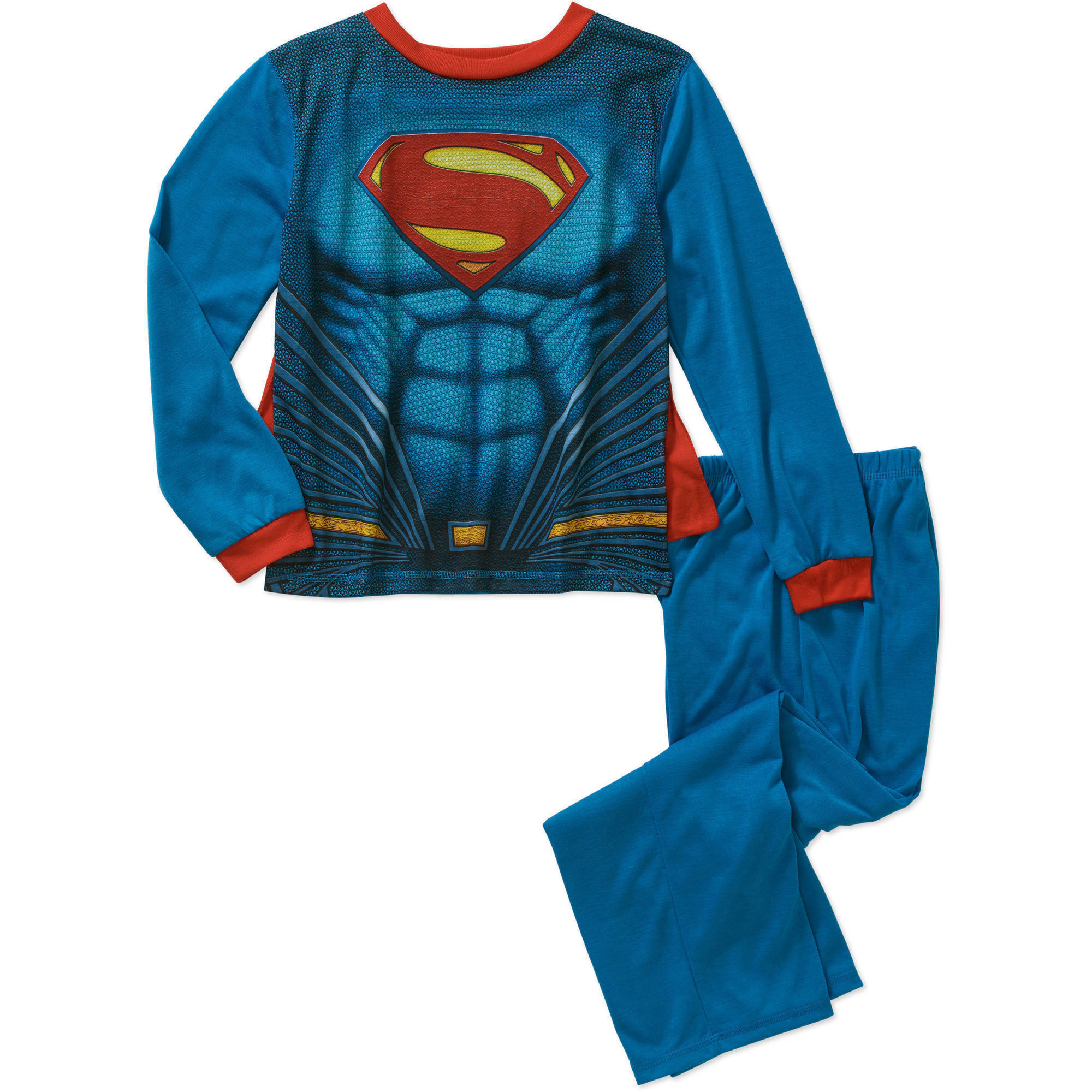DC Comics Boys' Licensed Pajama Sleepwear Set with Cape, Available in Batman and Superman