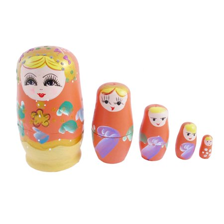 Unique Bargains Russian Babushka Hand Painted Stacking Nesting Matryoshka Doll Orange 5 in 1